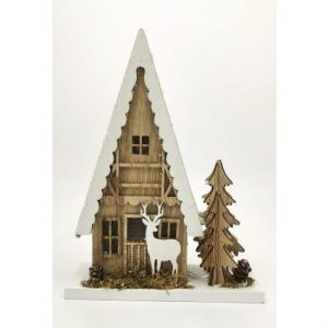 Wooden Christmas House LED Lit Decoration