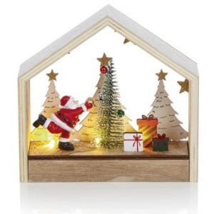 Lit Father Christmas Tree Scene Decoration